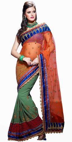 Chic Orange and Green Faux Georgette and Net Embroidered Saree With Blouse-IG5773 at IndianGarb
