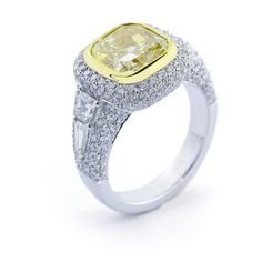 Custom carat fancy yellow diamond ring with bullet, trapezoid and pave diamond accents by Images Jewelers Yellow Diamond Rings, Custom Wedding Rings, Custom Jewelry Design, Colored Diamonds, Sterling Silver Pendants, Bullet, Fancy, Jewels, Jewelery