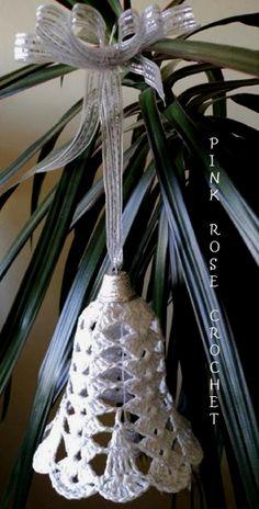PINK ROSE CROCHET: Sino Branco e Prata Enfeite de Natal