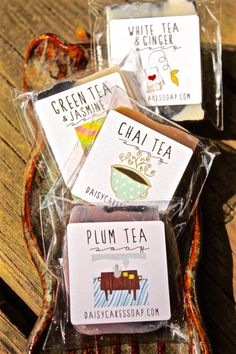 Tea Soaps Set of 4 Minis:  Green Tea and Jasmine by daisycakessoap