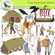 Create a great Viking culture resource with these 38 illustrations covering habitation, farming, livestock, adornments, weapons, a Norse longship and more. Features the daily life of men, women, teenagers and children.    Set includes 19 PNG color images, and 19 PNG blackline / grayscale  versions. $4.00
