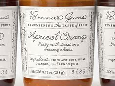 Jams Bonnie's Jams label redesign by Louise Fili inspired by handwriting samples.Bonnie's Jams label redesign by Louise Fili inspired by handwriting samples. Jam Packaging, Pretty Packaging, Brand Packaging, Packaging Design, Branding Design, Dairy Packaging, Vintage Packaging, Packaging Ideas, Louise Fili