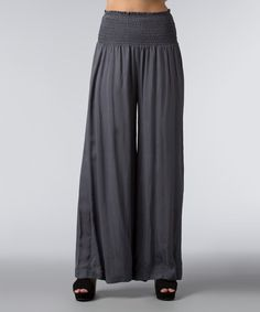 Look at this Slate Shirred Palazzo Pants - Women on #zulily today!