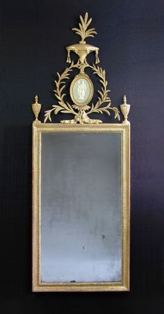 Adam period carved wood and gilded mirror, England c. 1780