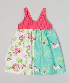 Look what I found on #zulily! Pink & Green Horse Run Dress - Infant, Toddler & Girls by Sutton's Buttons #zulilyfinds