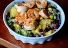 Superfood Salad with Lemon Vinaigrette: quinoa, pomegranate, citrus, avocado and beans