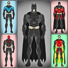 Batfamily: Batman (Bruce Wayne), Nightwing (Dick Grayson), Red Hood (Jason Todd), Red Robin (Tim Drake), & Robin (Damian Wayne).