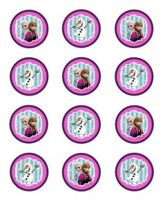 Instant Download!! Frozen Birthday Party Cupcake Toppers JPEG 300 dpi Printable DIY snow flakes disney Olloff Anna Elsa Winter wonder land on Etsy, $6.00