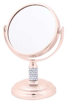 Danielle Enterprises Magnification Dual Sided Crystal Studded Vanity Mirror, Mini, Rose Gold >>> Click image for more details. (This is an affiliate link and I receive a commission for the sales) Rose Gold Room Decor, Rose Gold Rooms, Makeup Storage, Makeup Organization, Chrom Nails, Gold Everything, Gold Bedroom, Cute Room Decor, Beauty Room