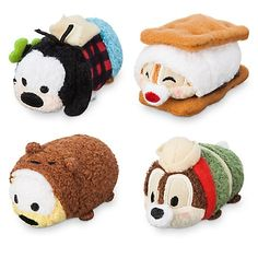 Micro Camping Tsum Tsum Set - Goofy as hiker, Pluto as bear, Chip as boy scout, and Dale as s'more