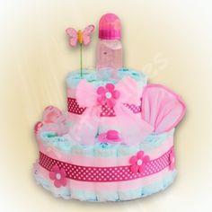 Tarta de pañales - Regalos originales para bebes Atardecer rosa