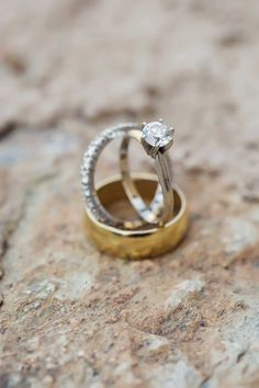 Solitaire Ring, Gold Band, & Eternity Band | Photography: Trevor Dayley. Read More: http://www.insideweddings.com/weddings/spring-wedding-at-tuscan-inspired-golf-club-in-scottsdale-arizona/814/