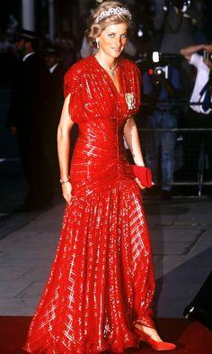 Princess Diana in red dress