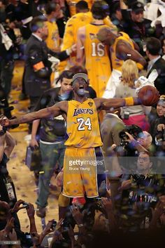Kobe Bryant  24 of the Los Angeles Lakers celebrates after defeating the  Boston… Lakers 4b620921c