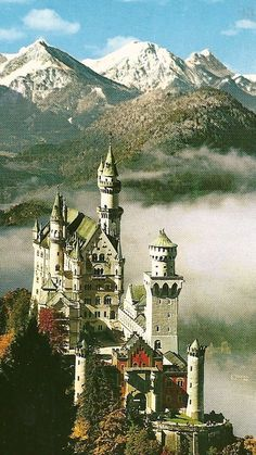 Schloss Neuschwanstein, Bavaria, Germany (The building of Ludwig's castles and palace bankrupted the region.) The pinner wrote---Schloss Neuschwanstein, home away from home for Ludwig II, King of Bavaria. Beautiful Castles, Beautiful World, Beautiful Places, Oh The Places You'll Go, Places To Travel, Places To Visit, Neuschwanstein Castle, Famous Castles, Castle In The Sky