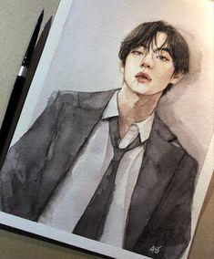 """Exam tomorrow and I've been painting 😌🔫"" Kpop Drawings, Pencil Art Drawings, Art Sketches, Taehyung Fanart, Bts Taehyung, Bts Chibi, Watercolor Sketch, Kpop Fanart, Traditional Art"