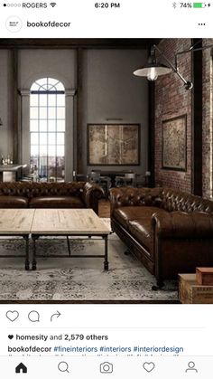 Loft House, Industrial Loft, Brown Leather, Couch, Living Room, Interior Design, Architecture, Furniture, Chesterfield