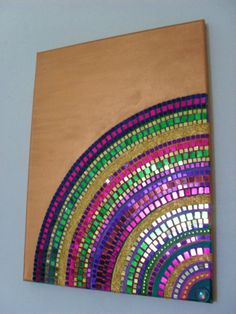 One of a kind hand crafted mixed media mosaic boho canvas