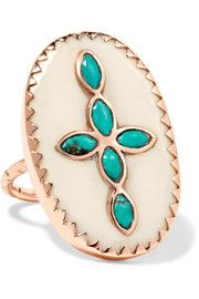 Bowie 9-karat rose gold, turquoise and resin ring