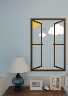KR Classroom idea - Wall Decal Custom Vinyl Art Stickers - Open Window With Sun, Sky, Clouds, and Bird. $40.00, via Etsy.