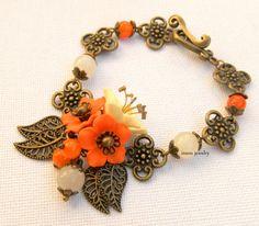 #Flower charm #bracelet   Cherry blossom jewelry  by insoujewelry