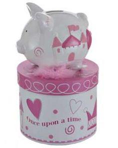 Princess Small Piggy Bank(Personalization available) :: For That Occasion Personalized Piggy Bank, Personalized Baby Gifts, Baby Gift Hampers, Pink Castle, Money Bank, Kid Names, Free Design, Baby Shower Gifts, Piggy Banks