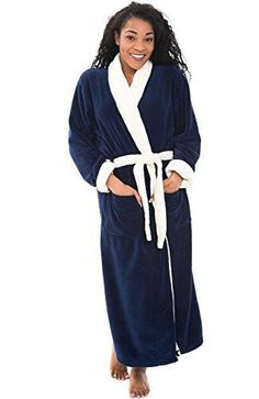 cb03f151b8 Women s Navy Fleece Bathrobe 1XL 2XL Warm Thick Soft Long Luxury Spa Robe  XL  DelRossa  Robes