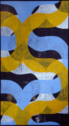 Beautiful oil on canvas painting by harold hollingsworth #HaroldHollingsworth #yellowandblue #pattern