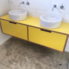 Yellow Laminate Vanity Formica pressed onto Birch plywood with two extra large drawers. Makes this kid& bathroom a fun and durable space. Tiny House Furniture, Vintage Bedroom Furniture, Wooden Pallet Furniture, Plywood Furniture, Upcycled Furniture, Bathroom Furniture, Kitchen Furniture, Furniture Ideas, Plywood Kitchen