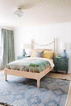 fresh layers of pattern and pastels in this bedroom by cortney bishop design | house tour on coco kelley