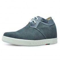 Grey Suede Leather men taller elevator casual shoes grow tall 7cm / 2.75inches