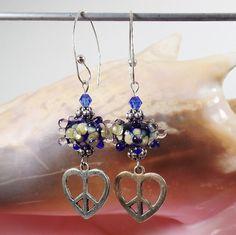 Lampwork Earrings Cobalt Blue Peace Heart handmade by irenesKralen