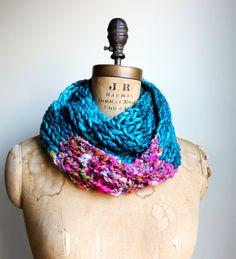 Bohemian knit loop infinity scarf. Teal. Pink. by Happiknits