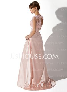 Mother of the Bride Dresses - $151.99 - Sheath Scoop Neck Sweep Train Charmeuse  Lace Mother of the Bride Dresses With Ruffle (008005616) http://jjshouse.com/Sheath-Scoop-Neck-Sweep-Train-Charmeuse--Lace-Mother-Of-The-Bride-Dresses-With-Ruffle-008005616-g5616