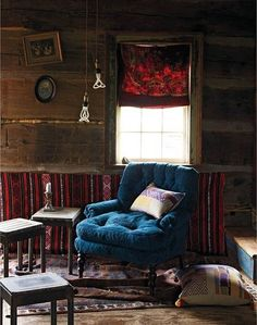 contrasting vibrant rich fabrics with rustic walls / spicy!