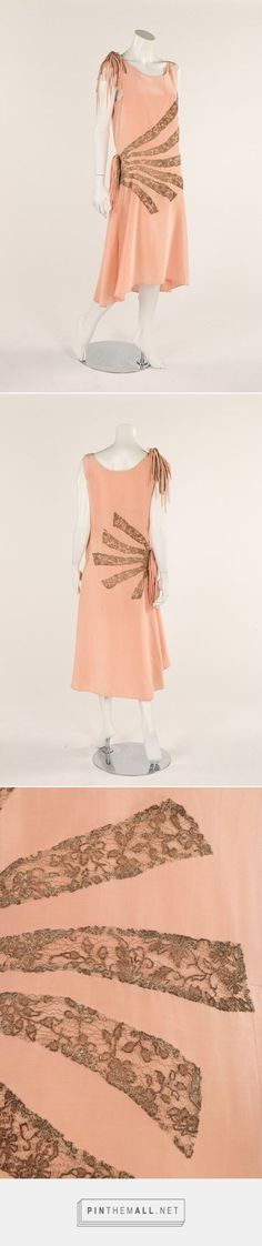 Late 1920s dress with gilt lace banded detail and fringing to the right hip, via www.vintageclothin.com.