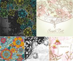 Hand drawn floral vector backgrounds