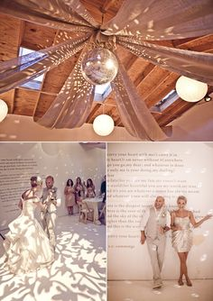 Love the quote wall. Plus disco ball at any wedding is a yes :)