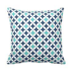 Teal Blue Geometric Pattern Decorative Pillow