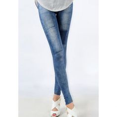 Retro Style Imitated Jeans Patch Design Elastic Slimming Women's Leggings,  BLUE, ONE SIZE in