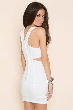 White tight dress with cutouts- Claudia Dress on Nastygal