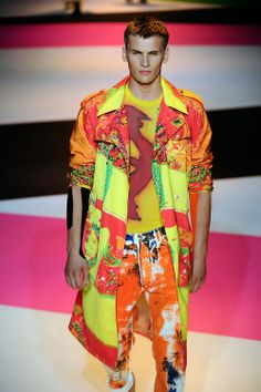 Über-brights blend and clash together at @Cameron Versaces #Menswear show in Milan #SS14