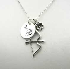 Bow Arrow Necklace Katniss Hunger Games Inspired Sterling Silver Charm Jewelry Mockingjay Archery Archer Catching Fire Charms Cluster on Etsy, $45.00