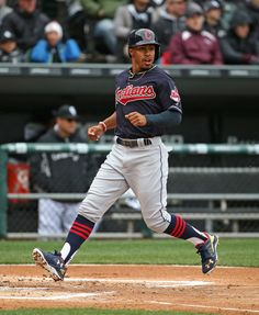51971996200 Francisco Lindor of the Cleveland Indians scores a run in the inning  against the Chicago White Sox during the home opener at U. Get premium