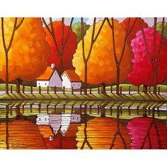 PEINTURE Folk Art chalet route automne coloré par SoloWorkStudio, $275.00