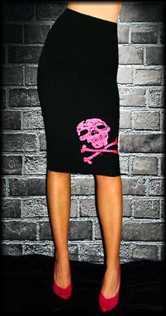 skull & crossbones pencil skirt