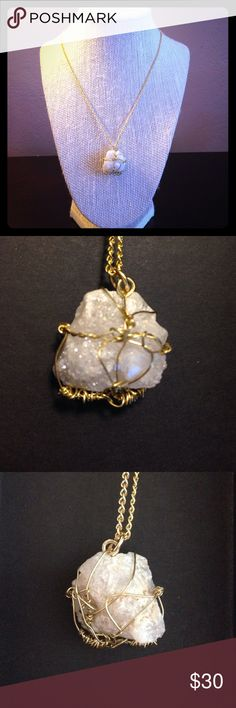 "Handmade by me💗Druzy Agate pendant! Stunning!  Druzy agate crystal mineral pendant encased within a gold plated intricate manipulated wire setting.  Mineral measures 1 1"" long by 3/4"" inches wide.  Raw, this crystal is iridescent looking with deep dimensions, looks like Angel aura Quartz!  Stand out unique artesian piece, handcrafted by me, Jessica.  From my heart to yours with reiki energy this pendant exudes master healing properties❤️ vintagecloset31 Jewelry"