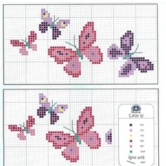 Ricami, lavori e centinaia di schemi a punto croce di tutti i tipi, gratis: Butt. Cross Stitch Letters, Mini Cross Stitch, Cross Stitch Animals, Cross Stitch Charts, Cross Stitch Designs, Stitch Patterns, Loom Patterns, Butterfly Stitches, Butterfly Cross Stitch