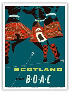 Scotland - Scottish Highland Dancers in Royal Stewart Tartan Kilts - Fly There by BOAC (British Overseas Airways Corporation) - Vintage Airline Travel Poster c.1959 :http://www.scotsusa.com/shop/scotland-scottish-highland-dancers-in-royal-stewart-tartan-kilts-fly-there-by-boac-british-overseas-airways-corporation-vintage-airline-travel-poster-c-1959-master-art-print/?w3tc_note=flush_all