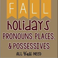 Fall Holiday Activities That Target IEP Goals!Pronouns, Places & Possessives: Fall Set 2 - Holidays targets receptive and expressive pronouns, prepositions, and possessive /s/ within a fun & engaging scenes. Its great for speech & language therapy or students working on describing pictures.